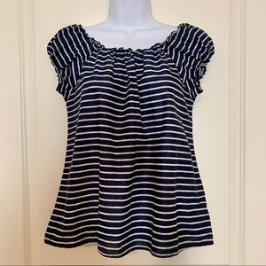 J.Crew Nautical Ruffled Cap-Sleeve Tee